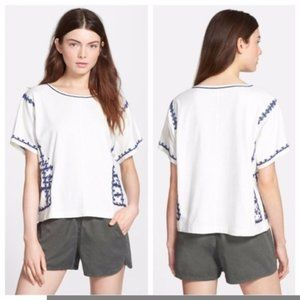 Madewell Cream and Navy Blue Embroidered Top Kara